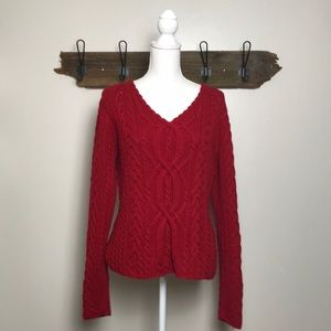 Sundance Cable Sweater V Neck True Red Thick